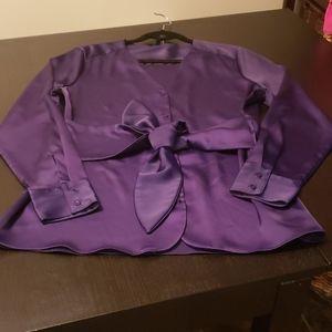 RW&CO Satin tie front blouse
